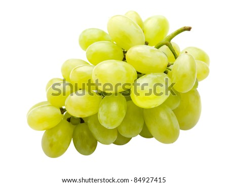 White grape fully isolated - stock photo