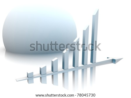 White Graph and Sphere. - stock photo