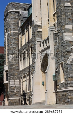 White-Gravenor Hall of Georgetown University, Washington DC, USA. White-Gravenor is a classroom building that also houses offices for the dean of Georgetown College.  - stock photo