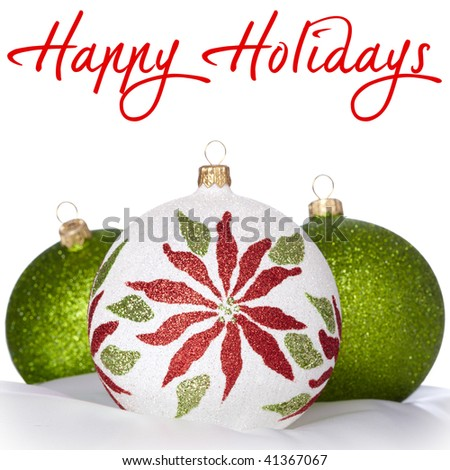 White, Green and Red Christmas Ornaments On White Background ~ Copyspace for Greeting
