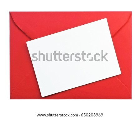 White greeting card and red envelope with copy space, isolated on white background.