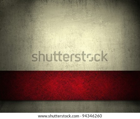 white grunge background with rich red ribbon stripe layout design and vintage wallpaper texture and copy space for ad or brochure - stock photo