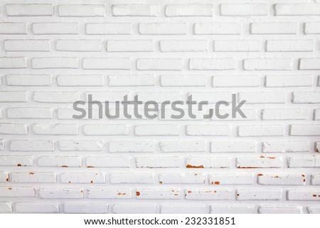 White grunge brick wall  - stock photo