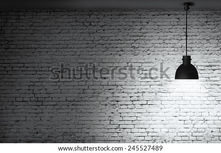 White grunge brick wall and black plafond are lights wall and floor from stone  - stock photo