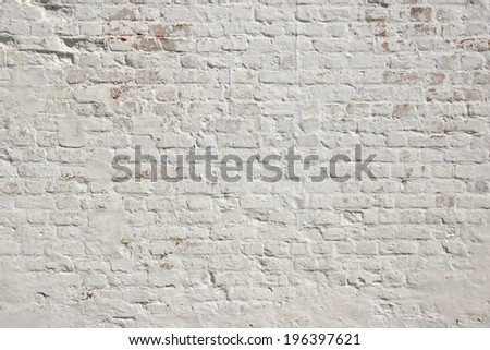 White grunge brick wall.  Background, with space for text or image. - stock photo