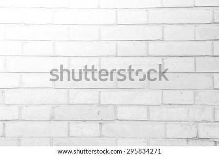 White grunge brick wall texture or pattern for background with light from top left - stock photo