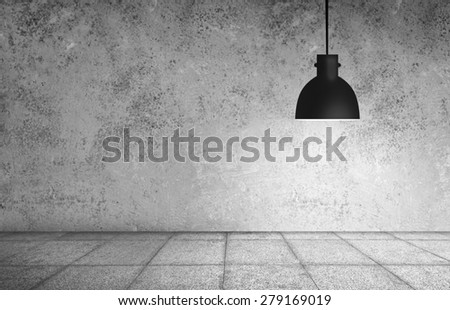 White grunge stonewall and black plafond are lights wall and floor from stone - stock photo