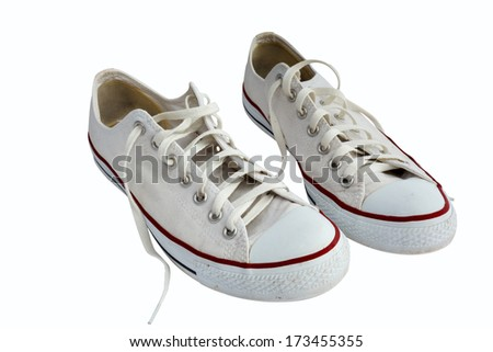 White gumshoes isolated on white with clipping path - stock photo