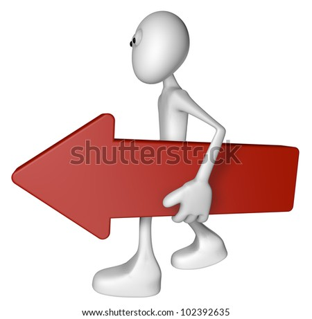 white guy carries red arrow - 3d illustration - stock photo