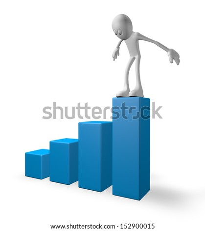 white guy on business graph - 3d illustration - stock photo