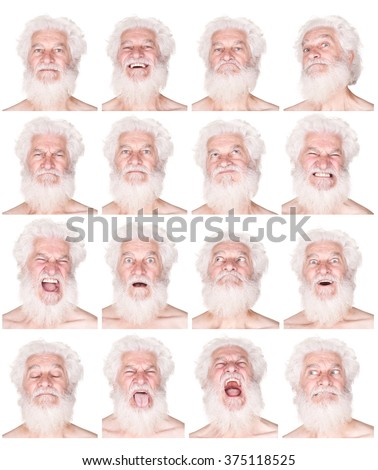 white hair and beard senior caucasian man collection set of face expression like happy, sad, angry, surprise, yawn isolated on white - stock photo