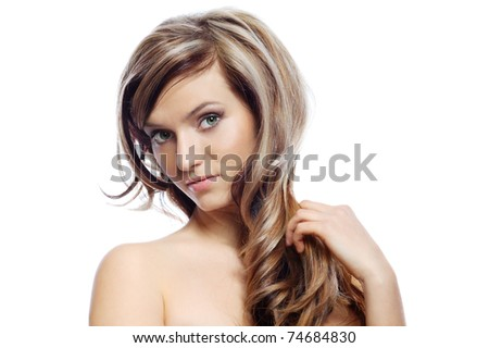 White hair looking at camera, isolated on a white - stock photo