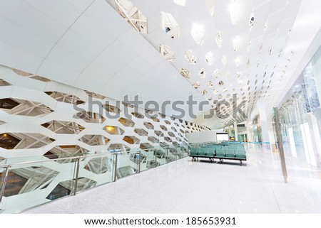 White hall at modern building - stock photo