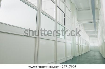 white hall with windows - stock photo