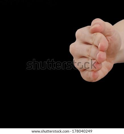 White hand isolated on black background - stock photo