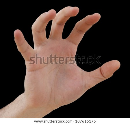 White hand isolated on black background