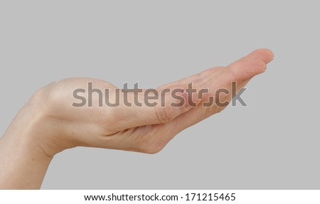 White hand isolated on perfect gray background