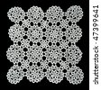 White handmade lace (square form), isolated on black. - stock photo