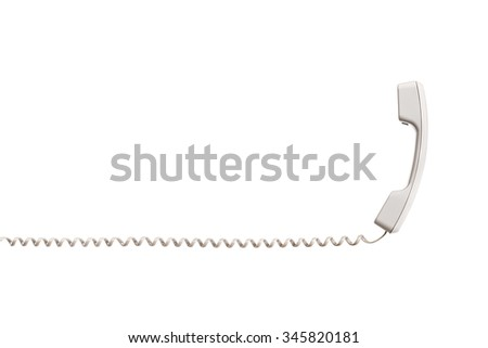 White handset with twisted wire, stretched horizontally. White handset is vertical, the wire is placed horizontally. Isolated on white background, close-up. - stock photo