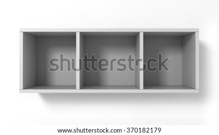 White hanging bookshelves with three sections isolated on white background - stock photo