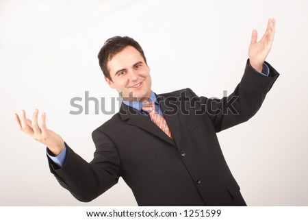 white happy business man with hands up