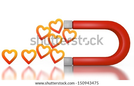 White  happy magnetism 3d graphic with magnetic heart icon attracted by an magnet - stock photo