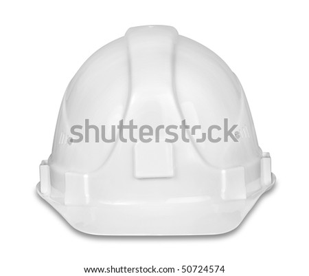 White hard hat isolated on the white background, clipping path included.