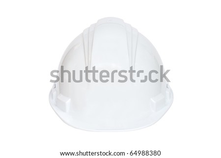 White hard hat on white background - stock photo