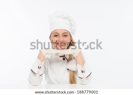 White hat chef, woman with gloves and smile gesture