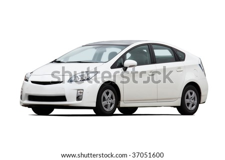 White hatchback isolated on white - stock photo