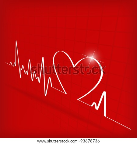 White Heart Beats Cardiogram on Red background - stock photo