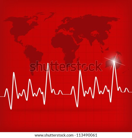 White Heart Beats Cardiogram on Red background - vector version in portfolio - stock photo