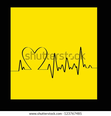 White Heart Beats Cardiogram on Yellow background - vector version in portfolio - stock photo