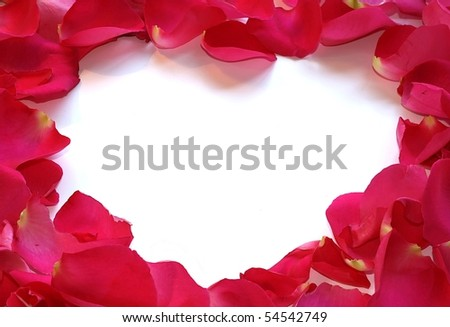 White Heart - Blank for your copy- made from rose petals. - stock photo