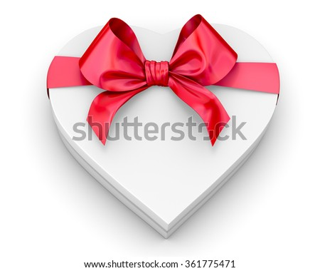 white heart shape box isolated. For your valentines day or love presents design. - stock photo