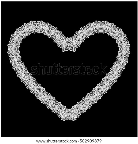White Heart shape is made of lace doily isolated on black background. Frame element for Holiday Card, Valentines Day, Wedding invitation. Raster version