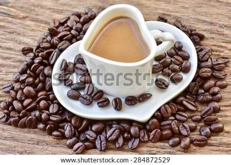 white heart shape of coffee cup in vintage style