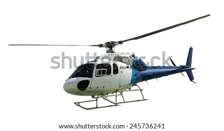 White helicopter with working propeller, isolated on white - stock photo