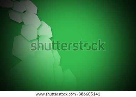 white hexagons wave and green shadow. geometric background design for your business.