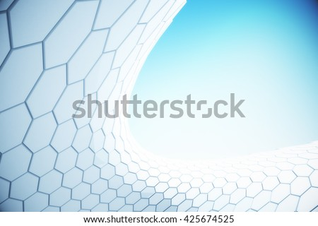White hi-tech hexagon pattern in the sky. 3D Rendering - stock photo