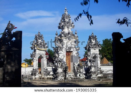 White Hindu temple on Nusa Penida island, near Bali - stock photo