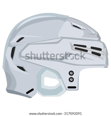 White hockey helmet on a white background