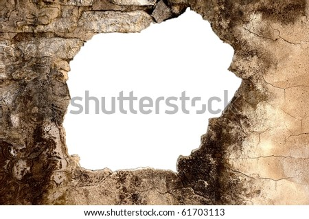 white hole in old moldered wall - stock photo