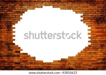 white hole in old wall, brick frame - stock photo