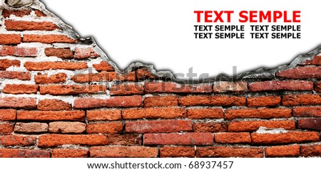 white hole in old wall, brick frame grunge industrial interior Uneven diffuse lighting version. Design component - stock photo