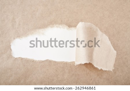 White hole on old paper - stock photo