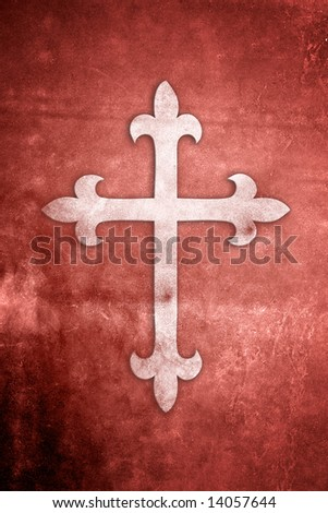 White Holy Cross on red textured grunge background