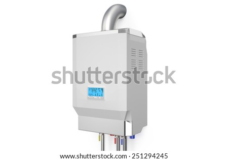 White home gas-fired boiler,  water heater isolated on white background - stock photo