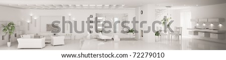 White home interior of modern apartment living room kitchen hall panorama 3d render