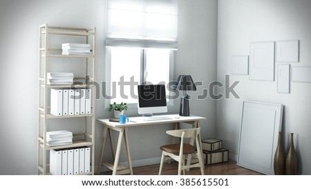 white home office, Design, Working